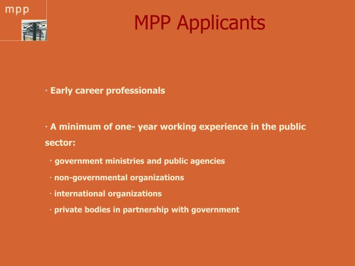 MPP Applicants