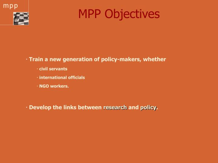 Mpp objectives