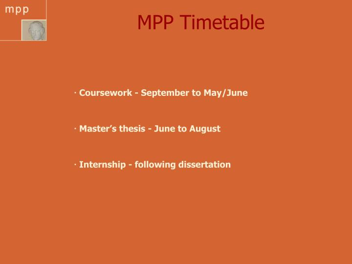 MPP Timetable