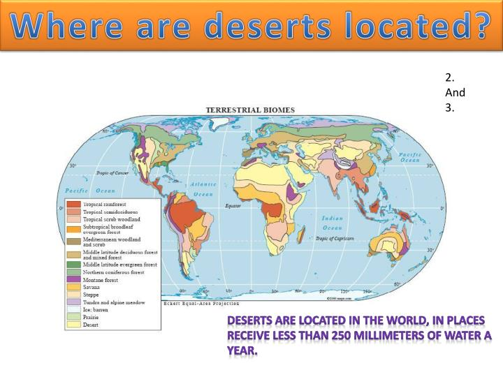 Where are deserts located?