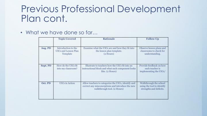 Previous Professional Development Plan cont.