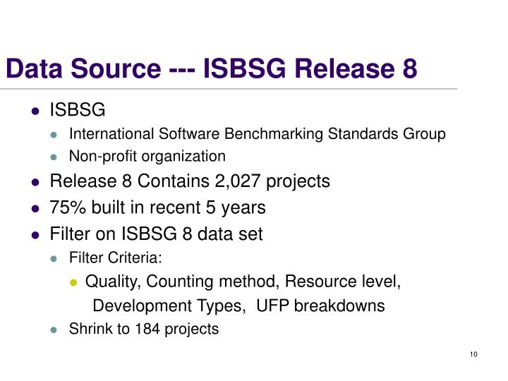 Data Source --- ISBSG Release 8