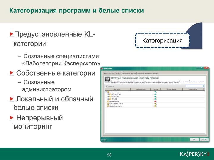 Категоризация программ и белые списки