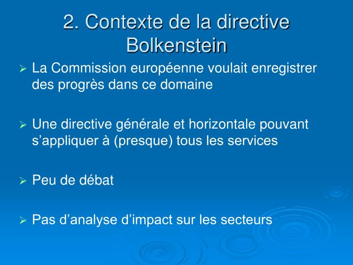 2. Contexte de la directive Bolkenstein