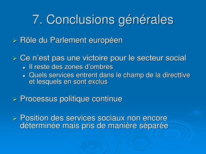 7. Conclusions générales