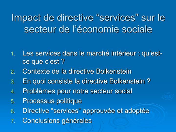 """Impact de directive """"services"""" sur le secteur de l'économie sociale"""