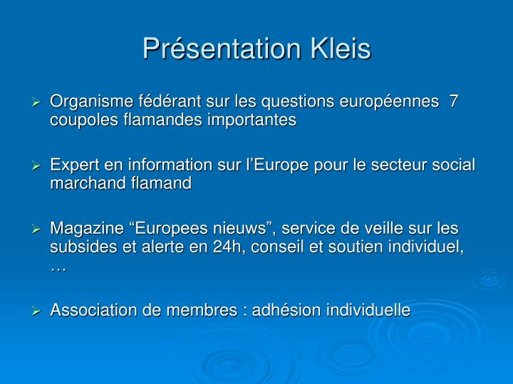 Présentation Kleis