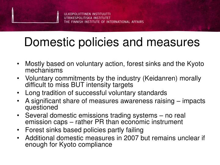 Domestic policies and measures