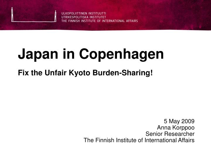 Japan in copenhagen fix the unfair kyoto burden sharing
