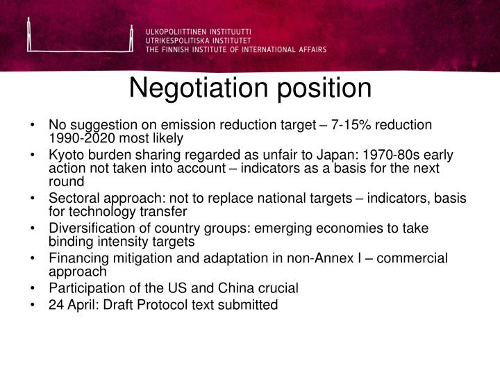 Negotiation position