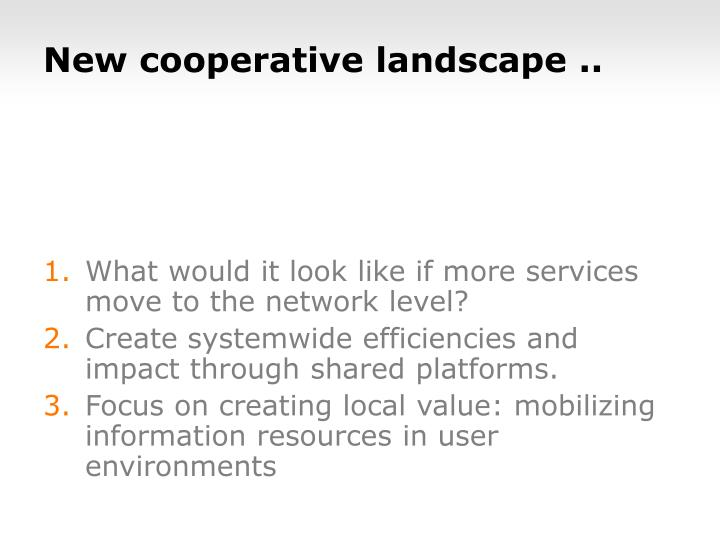 New cooperative landscape ..