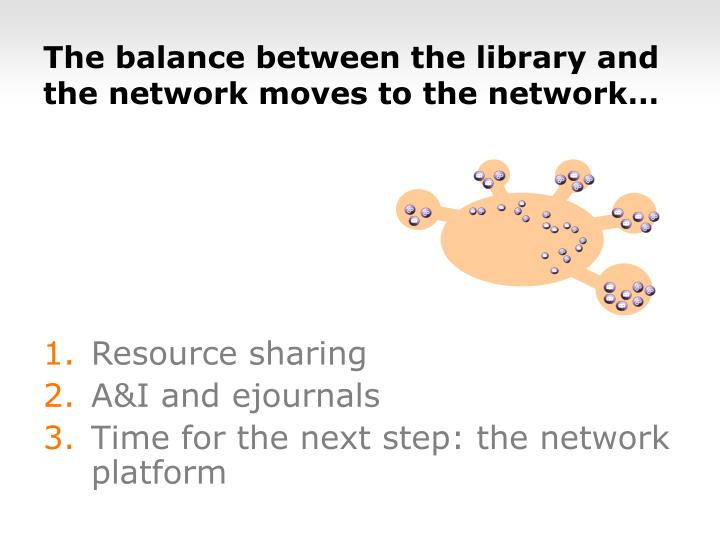 The balance between the library and the network moves to the network…