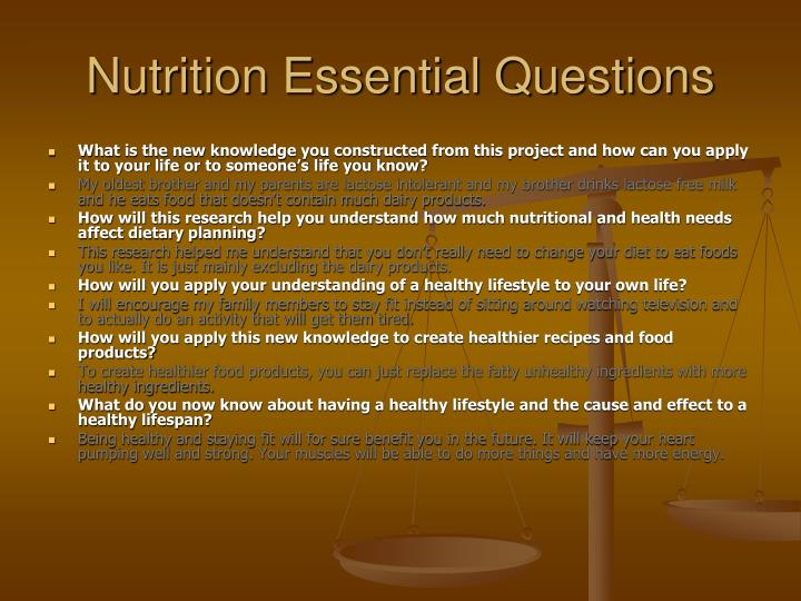Nutrition Essential Questions