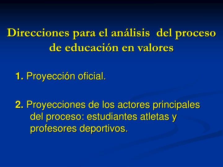 Direcciones para el análisis  del proceso de educación en valores