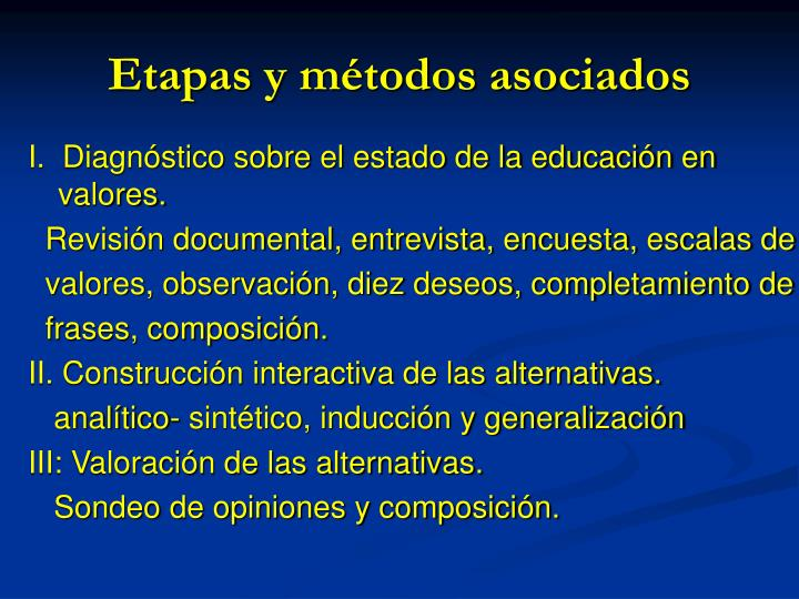 Etapas y métodos asociados