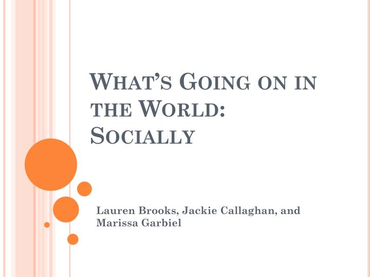 What's Going on in the World: Socially