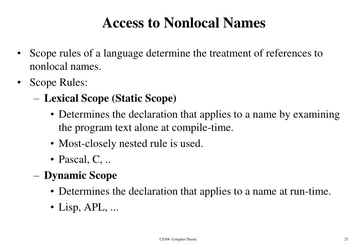 Access to Nonlocal Names