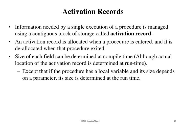 Activation Records