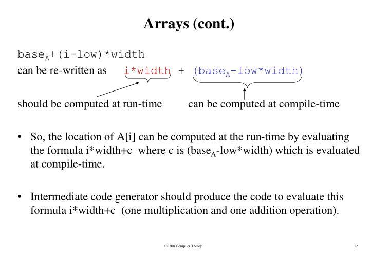 Arrays (cont.)