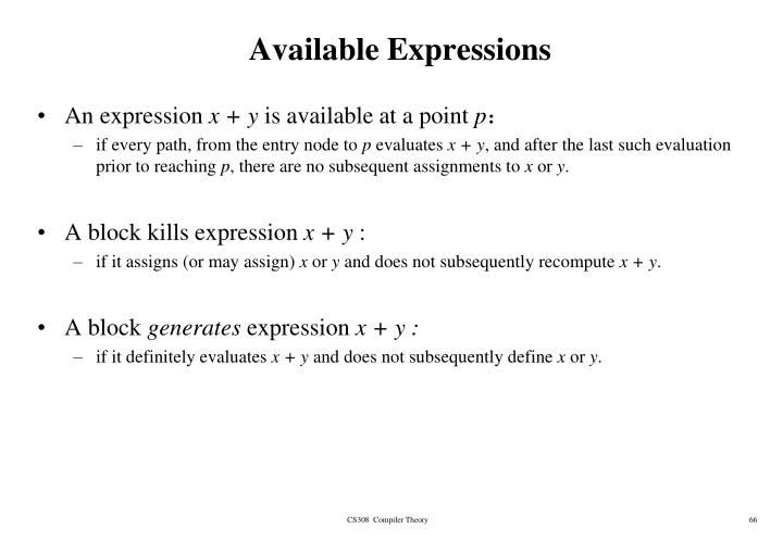 Available Expressions
