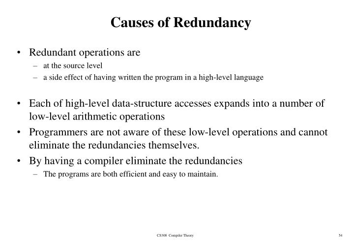 Causes of Redundancy