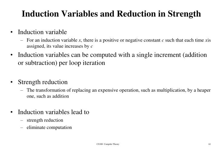 Induction Variables and Reduction in Strength