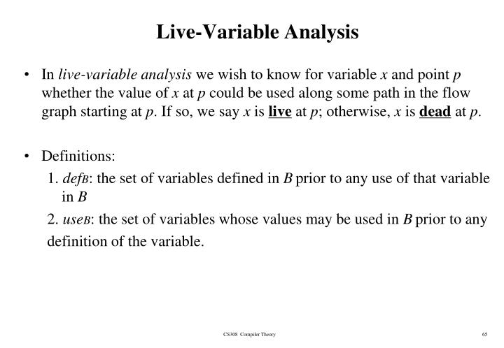 Live-Variable Analysis