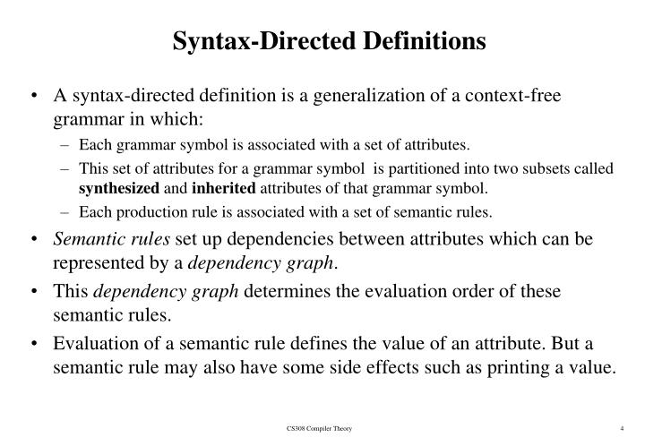 Syntax-Directed Definitions
