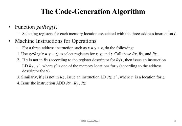 The Code-Generation Algorithm