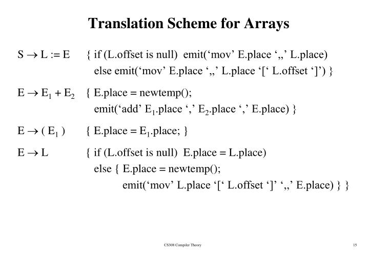 Translation Scheme for Arrays