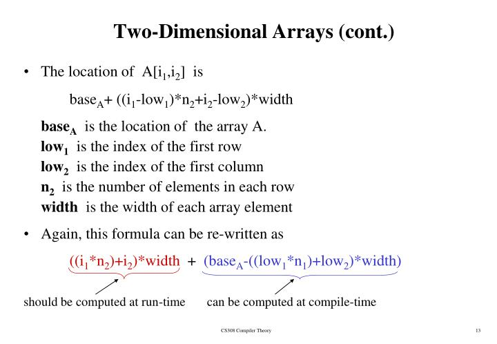 Two-Dimensional Arrays (cont.)