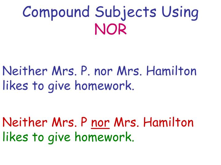 Compound Subjects Using