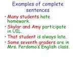 examples of complete sentences