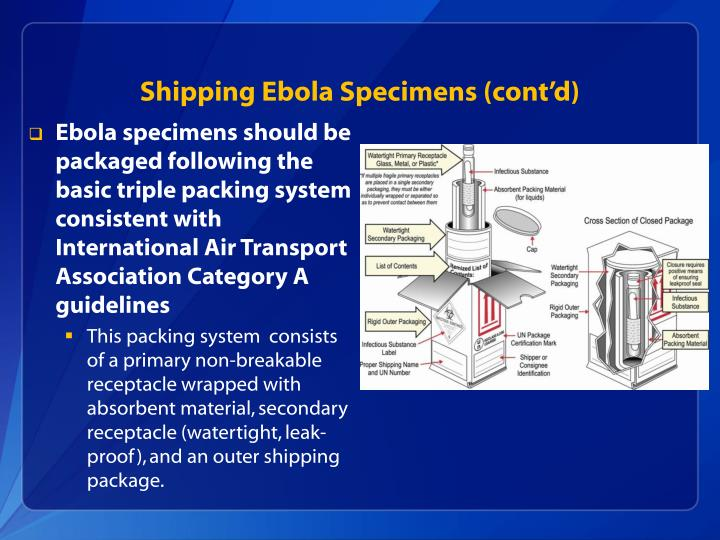 Shipping Ebola Specimens (cont'd)