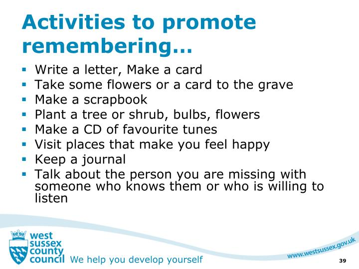 Activities to promote remembering…