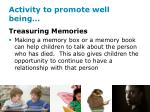 activity to promote well being