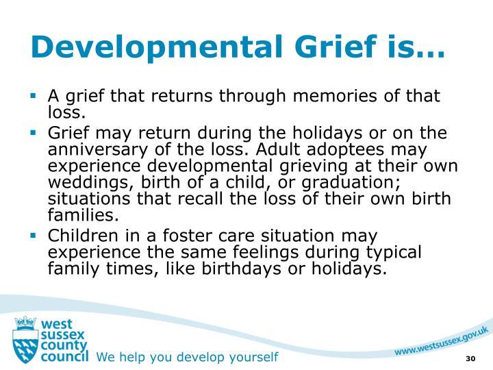 Developmental Grief is…