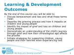 learning development outcomes