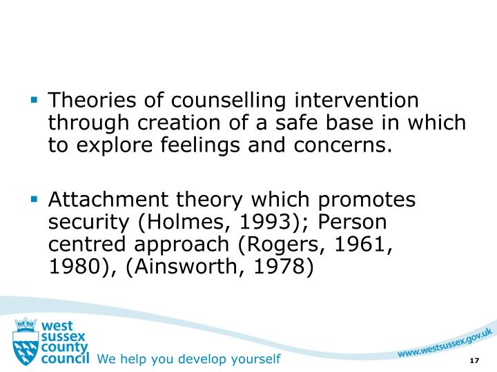 Theories of counselling intervention through creation of a safe base in which to explore feelings and concerns.