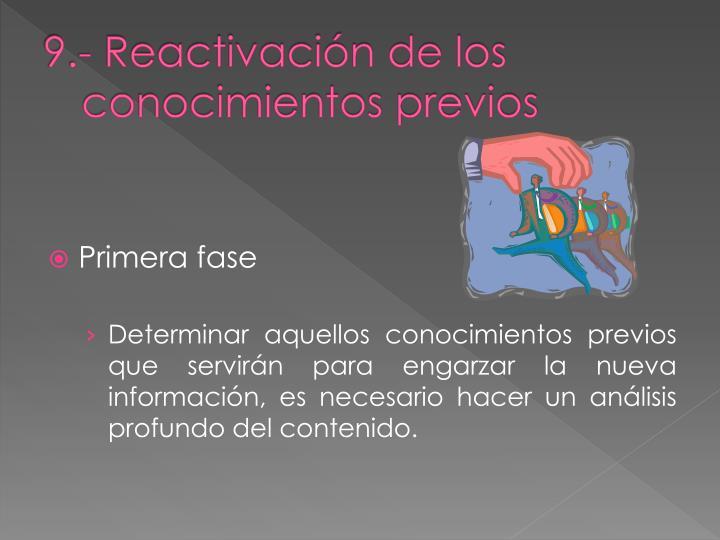 9.- Reactivación de los conocimientos previos
