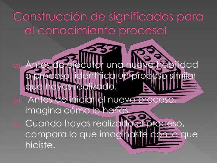 Construcción de significados para el conocimiento procesal