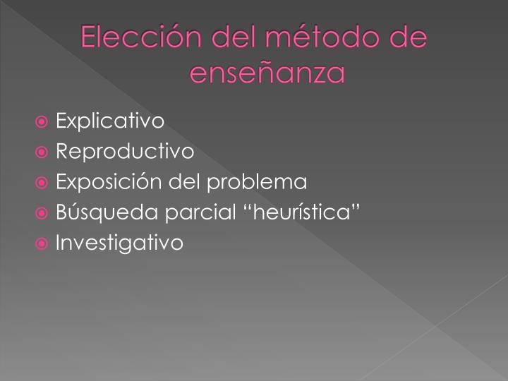 Elección del método de enseñanza