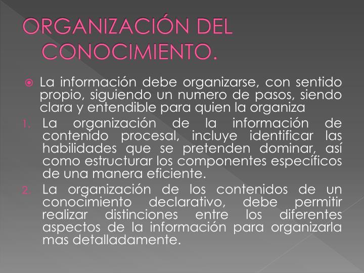 ORGANIZACIÓN DEL CONOCIMIENTO.