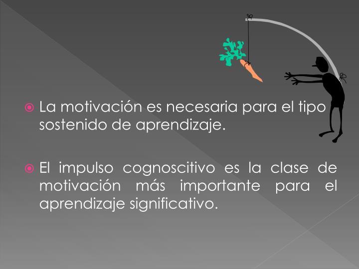 La motivación es necesaria para el tipo sostenido de aprendizaje.