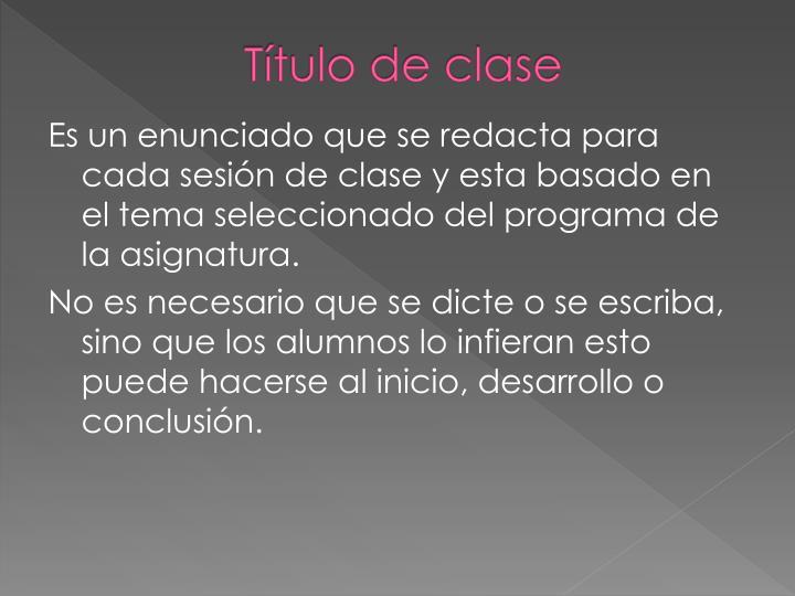 Título de clase