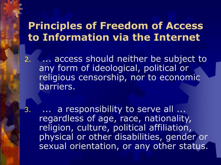 Principles of Freedom of Access to Information via the Internet