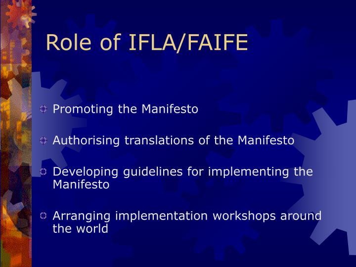 Role of IFLA/FAIFE