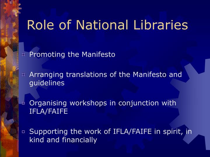 Role of National Libraries