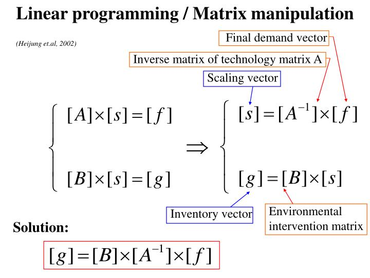 Linear programming / Matrix manipulation
