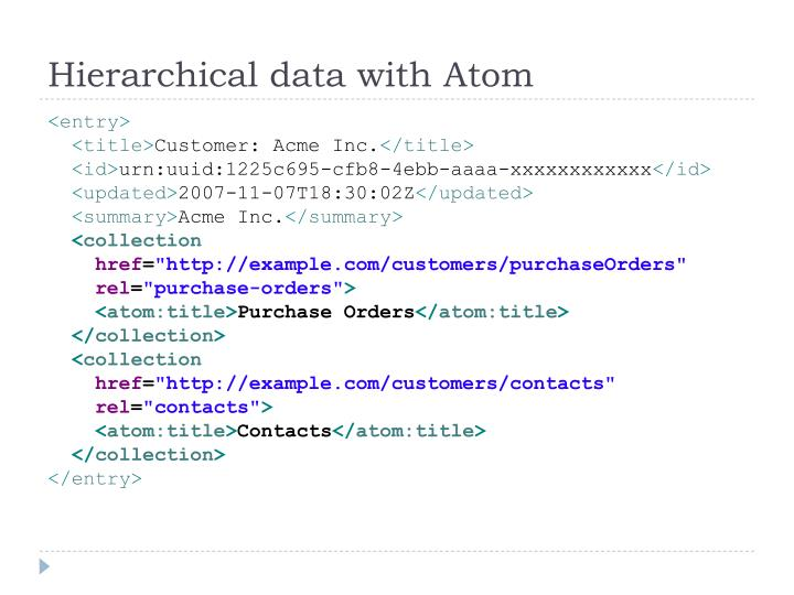 Hierarchical data with Atom